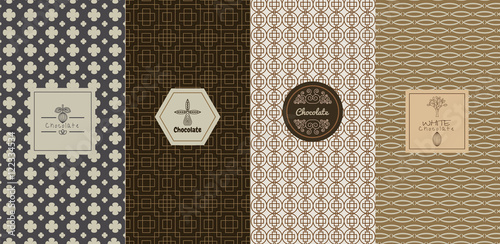 Fototapety, obrazy: Vector set of design elements and icons in trendy linear style for chocolate package