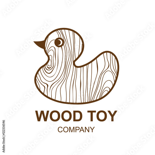 Set Of Company Logo Design Ideas Vector: Abstract Icon With Wooden Texture,toy Duck, Logo Design