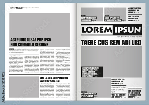 Traditional Graphical Design Template Newspaper Gray Colors And A3