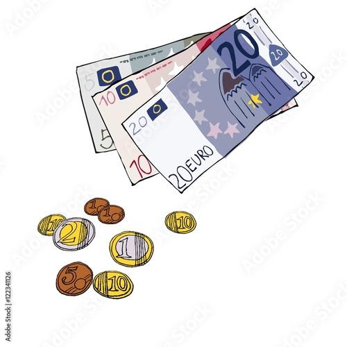 Geld Euro Scheine Münzen Handgezeichnet Illustration Comic