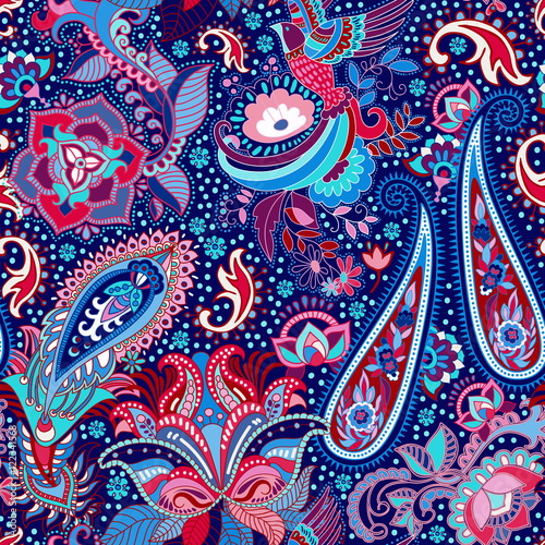 Cotton fabric Colorful indian seamless pattern