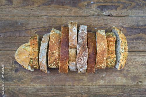 Leinwand Poster verschiedene Schnitten als Brot gelegt