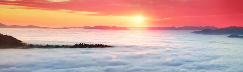 Panel Szklany misty sea Carpathians