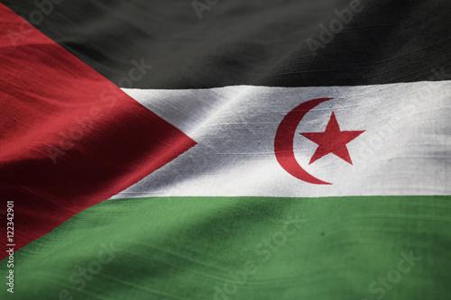 Photo sur Aluminium F1 Closeup of Ruffled Western Sahara Flag, Western Sahara Flag Blow