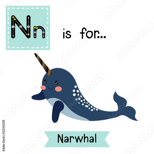 Image of: Nightingale Vector Illustration By Natchapohn Letter Tracing Dark Blue Narwhal Cute Children Zoo Alphabet Flash Card Funny Adobe Stock Letter Tracing Dark Blue Narwhal Cute Children Zoo Alphabet