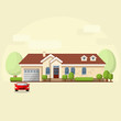 Vector illustration of house facade, car and trees.