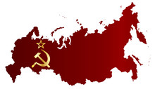 Russian Red Flag Silhouette Map