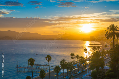 Fotografie, Obraz Cannes bay French riviera at sunset. France.