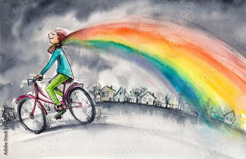 rowerzysta-w-teczowy-szary-dzien
