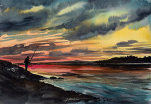 Fishing Man With Fishing Rod On Rocky Shore Over Sunset Sky Background.Picture Created With Watercolors.