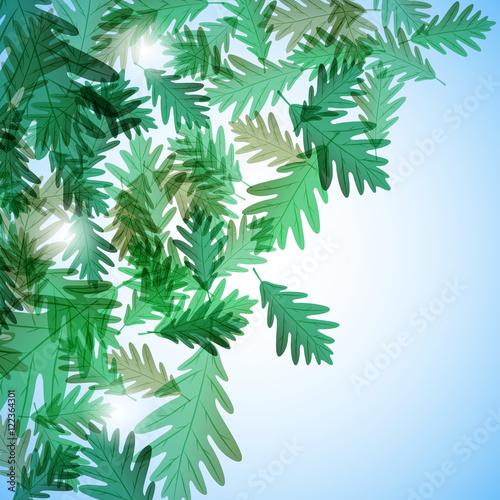 Fototapeta Illustration autumn motif. Oak leaves. Vector background obraz na płótnie