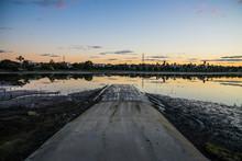 Boat Ramp At Sunset