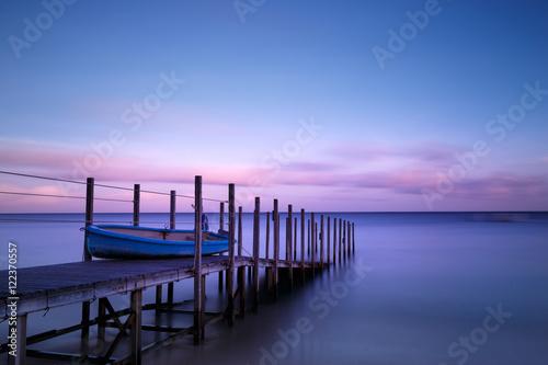 Fotografie, Obraz  Boat and Pier in Twilight