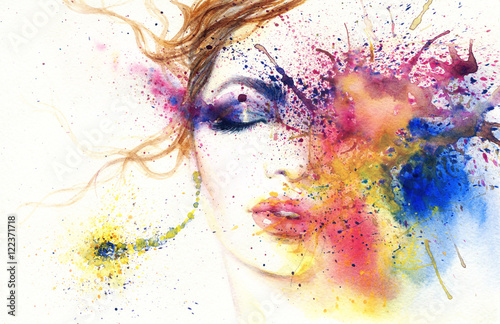 Garden Poster Watercolor Face woman portrait .abstract watercolor .fashion background