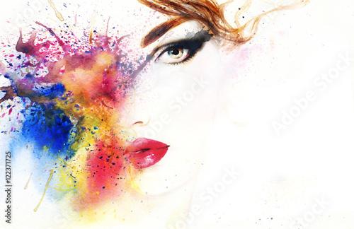 Poster Portrait Aquarelle woman portrait .abstract watercolor .fashion background