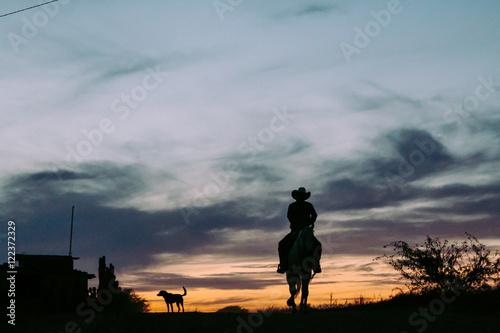 La pose en embrasure Vache Silueta de vaquero en su caballo.