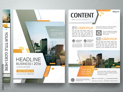 Brochure Design Template Vector Green Abstract Square Cover