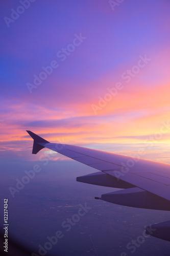 Zdjęcie XXL Zmierzchu niebo od samolotowego okno