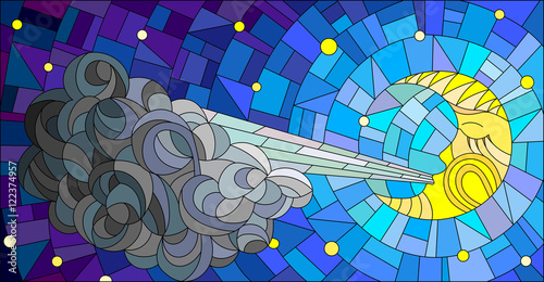 Stained glass illustration with fairy moon blowing a cloud against the starry sky