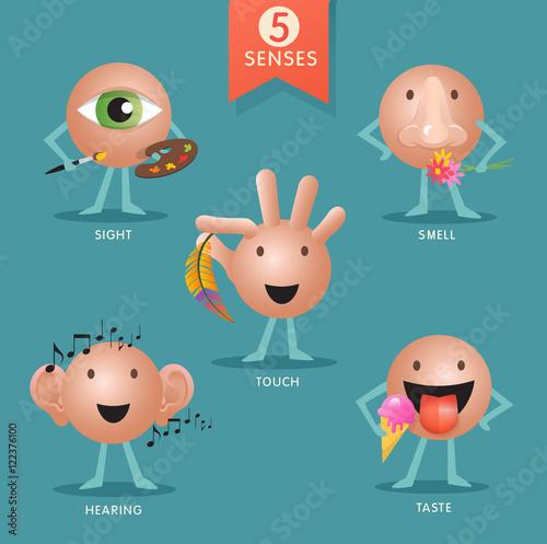 Foto  educational cartoon characters representing the five senses