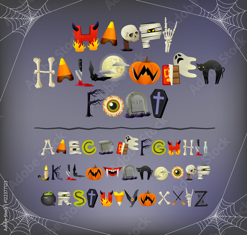 Halloween font alphabet illustrated with halloween icons and theme