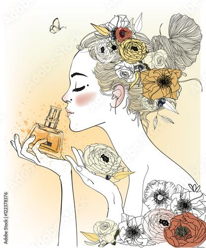 Fotografie, Obraz  Vintage fashion girl with perfumes