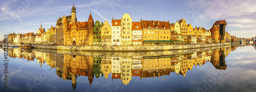 Fototapeta Panorama starego miasta w Gdańsku,panorama clustrzana  obraz