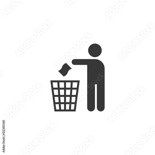 Fototapety, obrazy: silhouette pictogram vector. Please don't litter sign