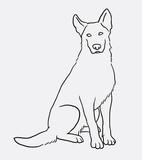 German shepherd sitting pet dog doodle style. Good use for symbol, logo, web icon, mascot, sign, or any design you want.
