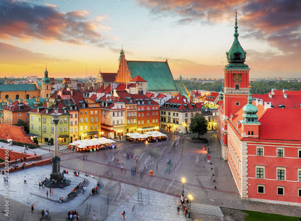 Fototapety, obrazy: Night panorama of Old Town in Warsaw, Poland