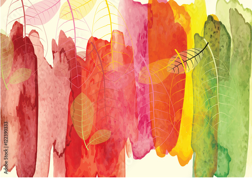 Fototapeta Abstract Background With Forest And Tree To Show Season Change Vector Watercolor Brush Design Vector Illustration Invite Card