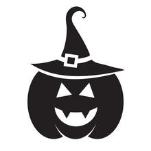 Cute Halloween Black Pumpkin With Hat