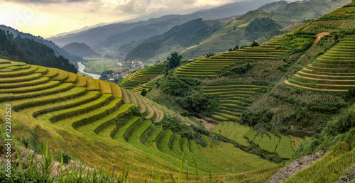 Fotobehang Rijstvelden Beautiful Rice Terraces, South East Asia,Yenbai,Vietnam..