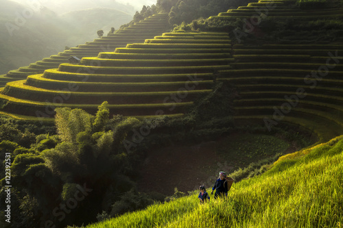 Foto auf Leinwand Reisfelder Peasant mother and daughter walking on the rice terraces Vietnam