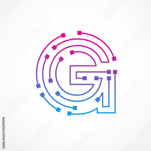 abstract letter g logo design template technology electronics