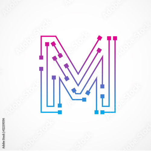 Abstract Letter M Logo Design Template Technology