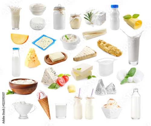 Garden Poster Dairy products Different types of dairy products on white background. Dairy food collage.