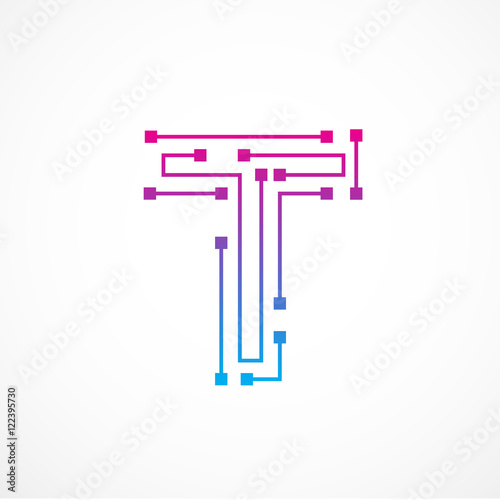 Abstract Letter T Logo Design Templatetechnologyelectronicsdigitaldot Connection Cross