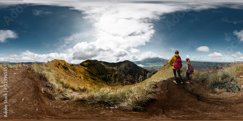 Fotografia  Spherical, 360 degrees, seamless panorama of the two ladies hikers standing on t