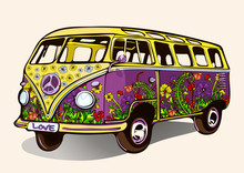Hippie Vintage Bus, Retro Car ...