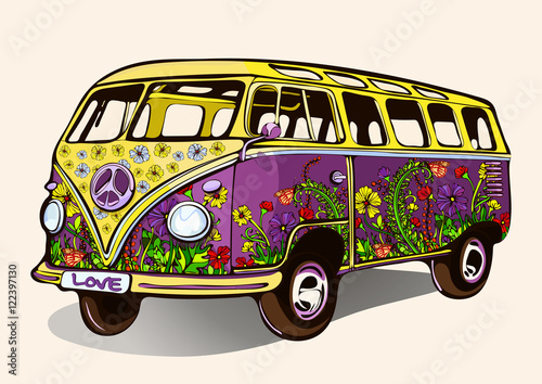 Photo  Hippie vintage bus, retro car with airbrushing, hand-drawing, cartoon transport