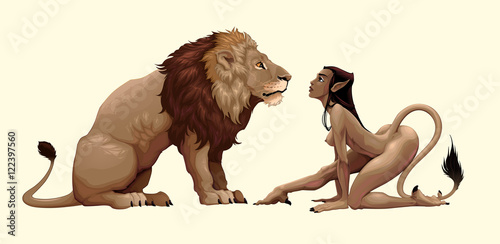 In de dag Kinderkamer Lion and mythological feminine character are watching each other
