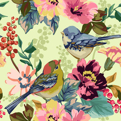 Fototapeta Vintage Seamless pattern of Floral elements and birds