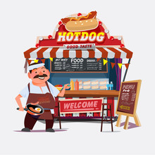 Hot-dog Outdoor Cart With Sell...