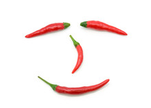 Red Chilli Pepper Smiley Face On White
