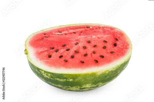 Poster Légumes frais Half of watermelon with seeds in the section. Isolated on white background.