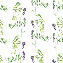 Fototapetaseamless pattern with watercolor drawing flowers
