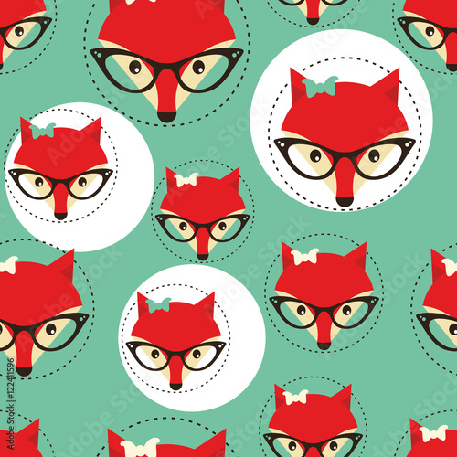 Cotton fabric Seamless background with foxes faces in glasses.