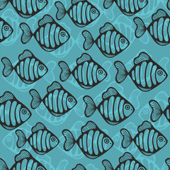 Fototapeta Marynistyczny Colorful seamless pattern with cute fish.