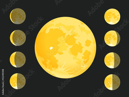 Different silhouettes of the Moon. Vector clip-art Plakát